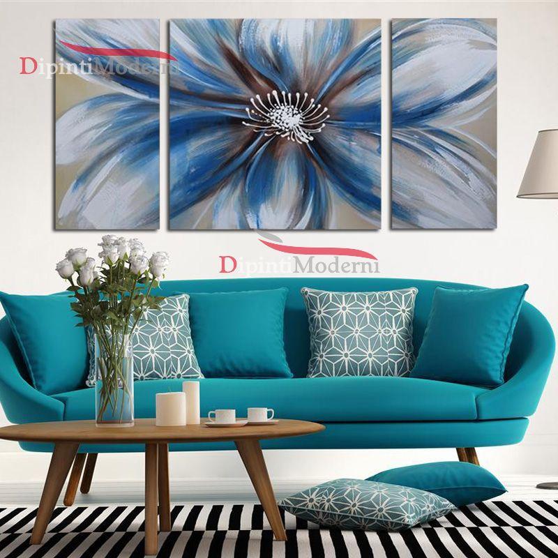 Quadri moderni fiore grande azzurro