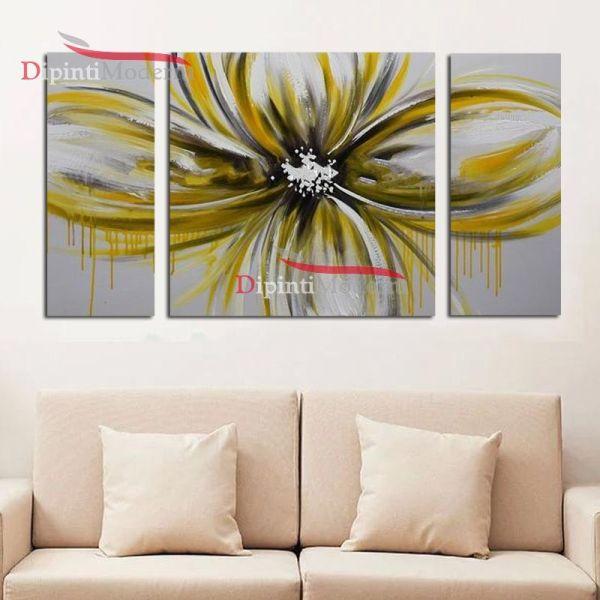 Quadri moderni soggiorno fiore giallo