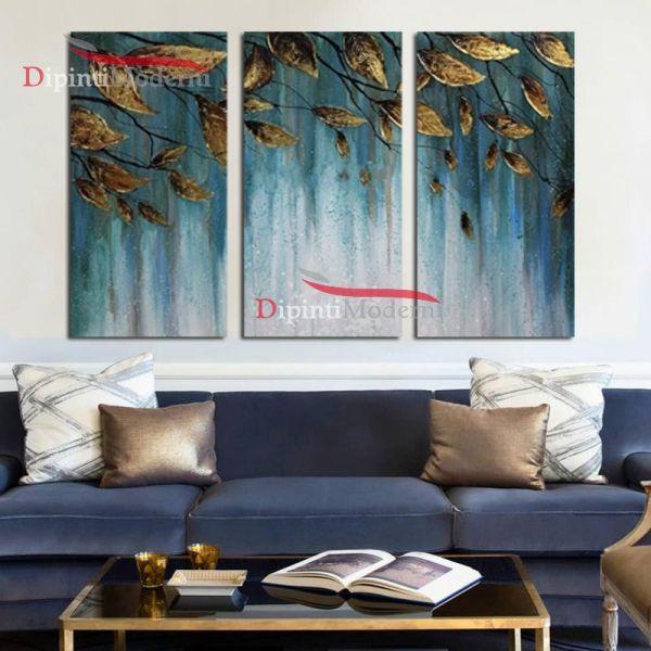 Quadro foglie cielo azzurro olio su tela moderno