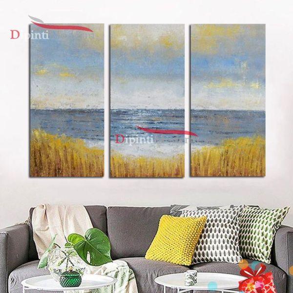 Quadro mare vista da campo di grano dipinto olio su tela moderno