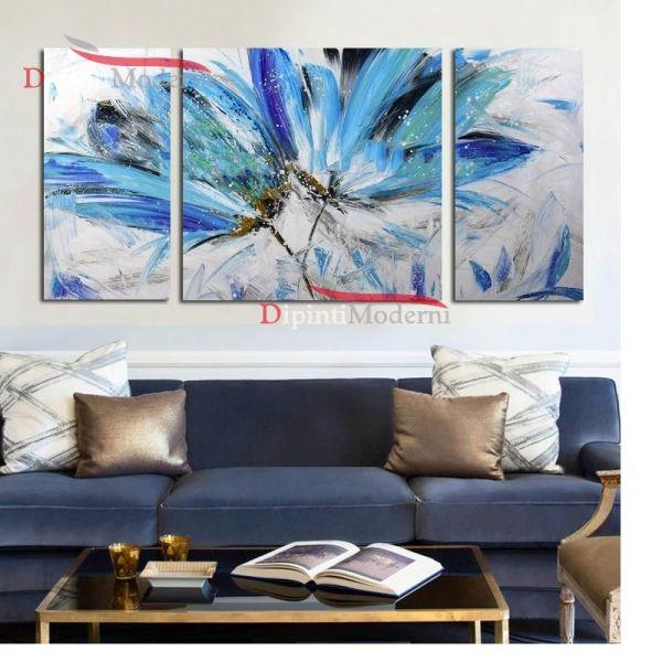 Quadro moderni fiori azzurri zona living