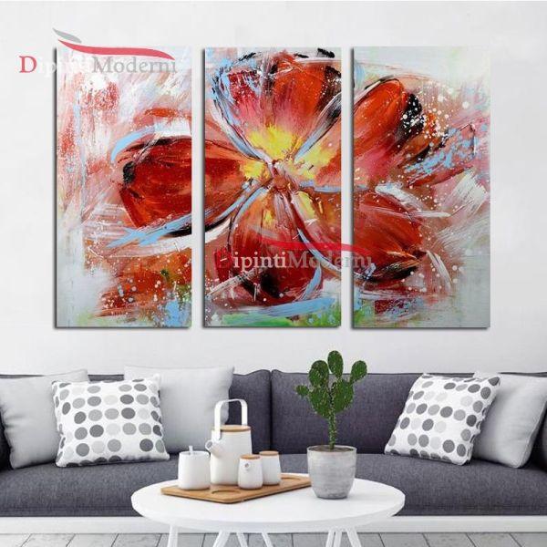 Quadro moderno su tela fiore rosso trittico