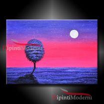 dipinto albero luna tramonto