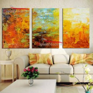 Dipinti a mano decorativi toni caldi zona living