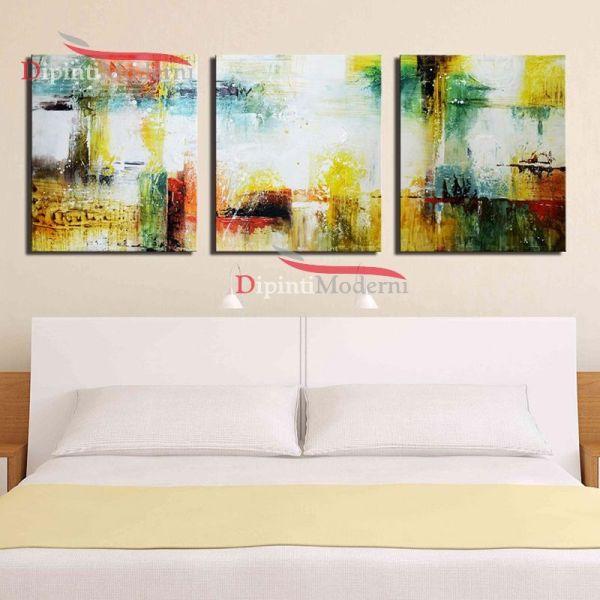 Dipinti su tela astratti colori giallo bianco