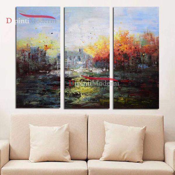 Quadri arte moderna paesaggio astratto sfumato dipinti olio su tela