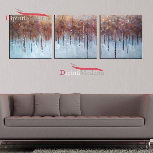 Quadri salotto divano moderno dipinti a mano foresta alberi