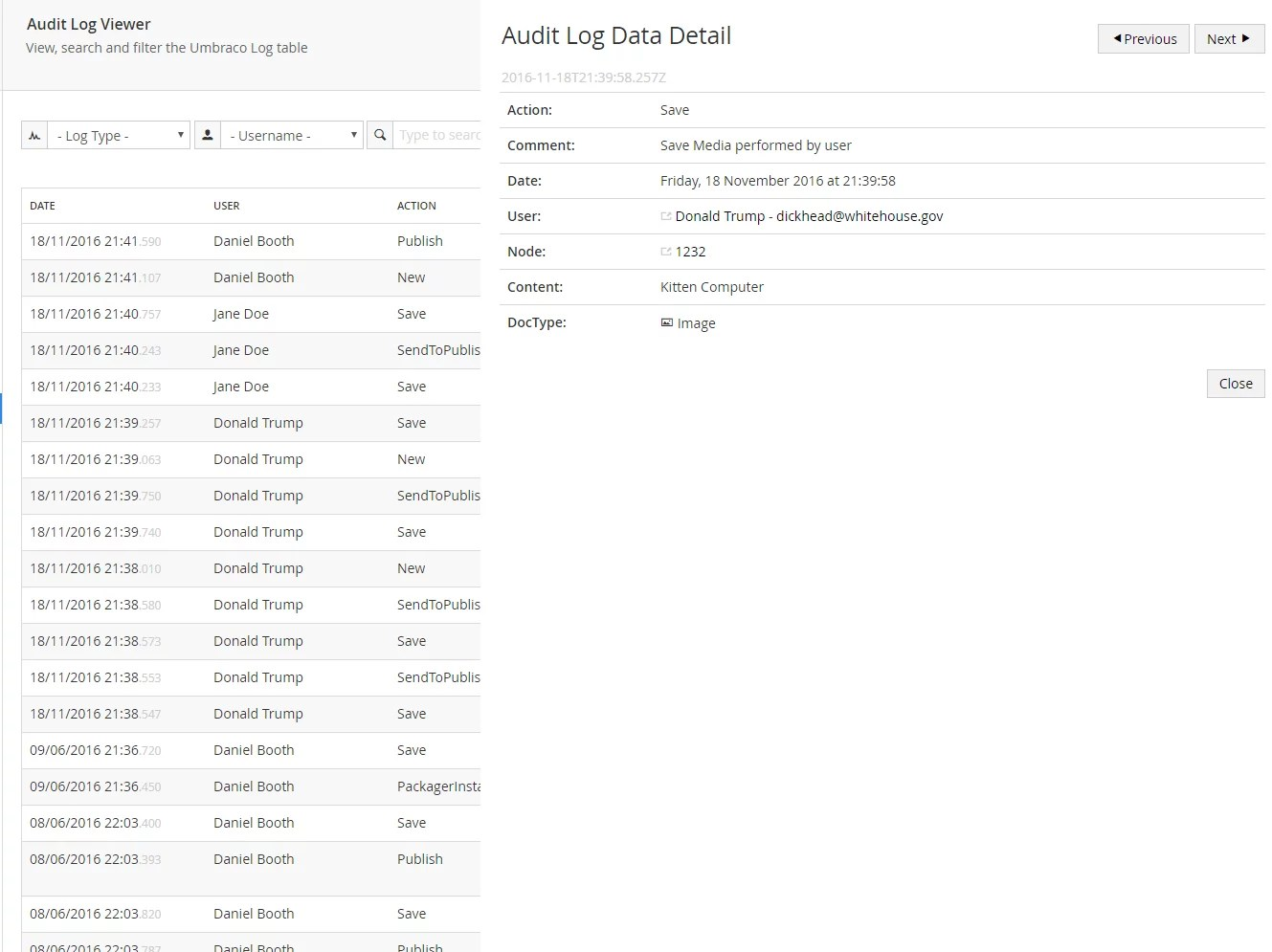 Diplo Audit Log Data Table Umbracolog Viewer For Umbraco Cms