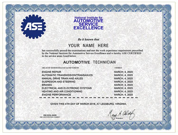 Fake Ase Automotive Certificate