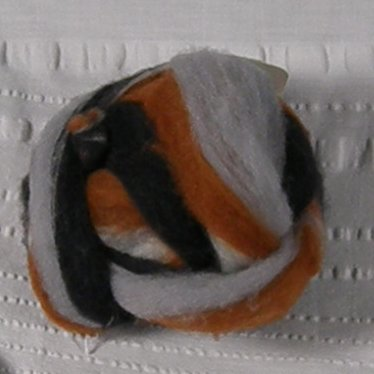 Striped Roving, 1-oz ball, grey, brown, black and white colors