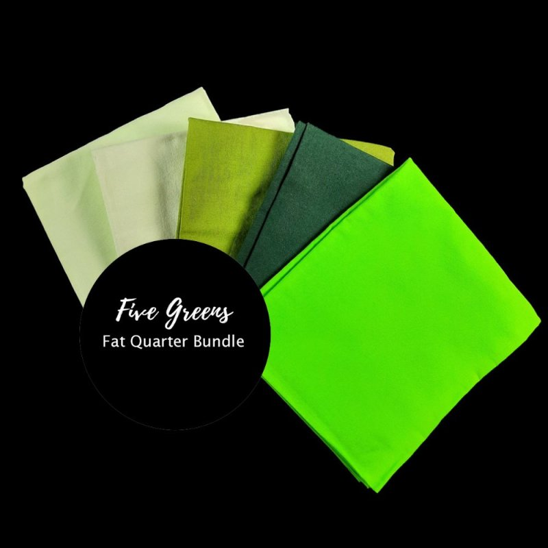 Fat quarter bundle of five hand-dyed green cotton fabrics for quilters