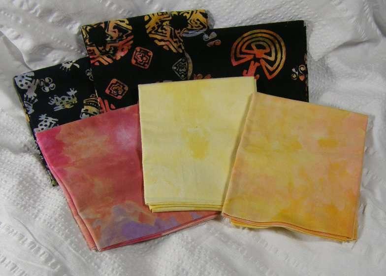 FQ Bundle - 3 Snow dyes plus 3 Batiks