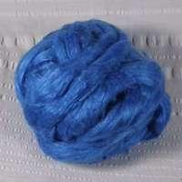 Roving, Tussah Silk, per yard, med blue, feb2019