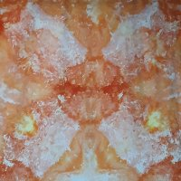 Orange, gold, and tan snow-dye, full width.