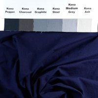 Dusty Denim blue, ultra-dark, on Kona, unironed
