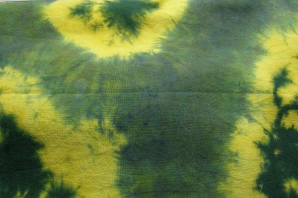 Discharged green and yellow muslin