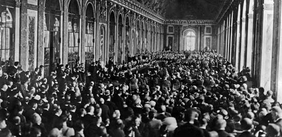Mirrors, Hall of: dignitaries sign World War I peace treaty in the Hall of Mirrors, 1919 Dignitaries gathering in the Hall of Mirrors at the Palace of Versailles, France, to sign the Treaty of Versailles, June 28, 1919.