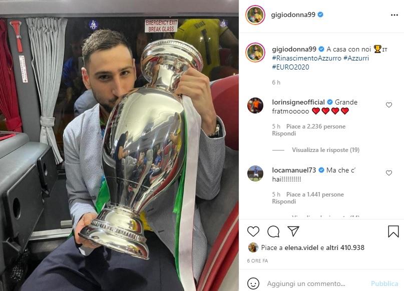 Gianluigi Donnarumma coppa @ foto da Instagram