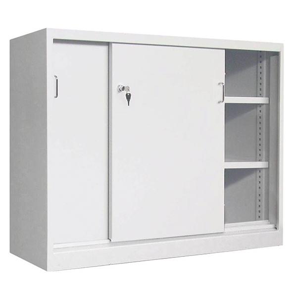 armoire monobloc basse portes coulissantes avec 2 etageres l100 x p43 5 x h 104 cm