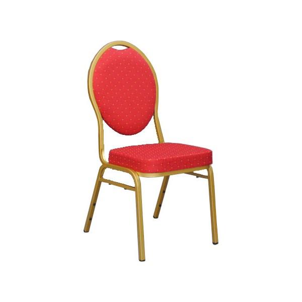 chaise empilable confort non feu rouge et doree
