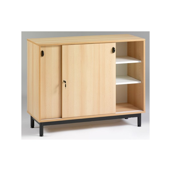 meuble bas portes coulissantes l120xp45xh95 cm coloris coquille d œuf gris ou hetre