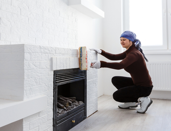 how to paint a fireplace interior