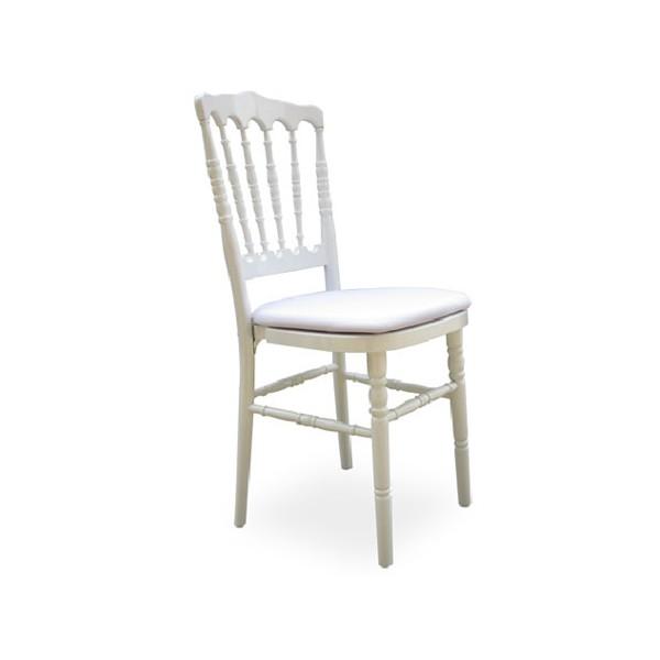 lot de 4 chaises empilables napoleon bois blanches avec coussin
