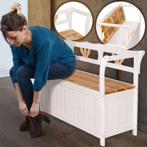 banc en bois blanc avec coffre de rangement integre