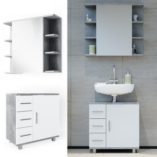 meubles haut et bas pour salle de bain gris beton blanc modele corbel