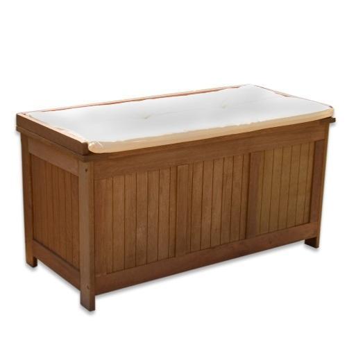 coffre banc de rangement en bois exotique 115 cm
