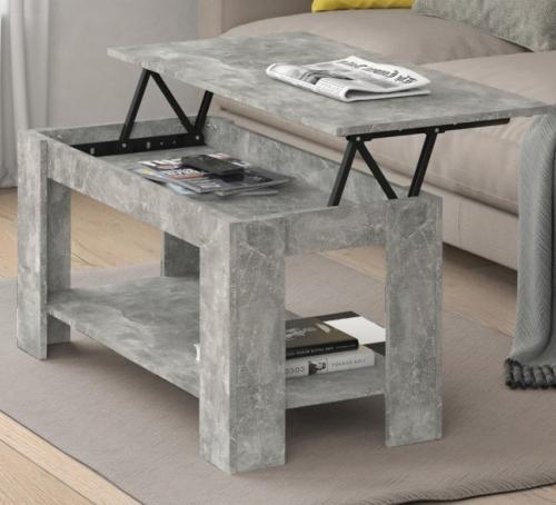 table basse gris beton 100 cm plateau relevable galion
