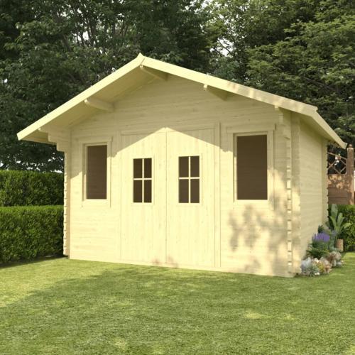 abri de jardin avec auvent bois massif 44 mm surface 12 m