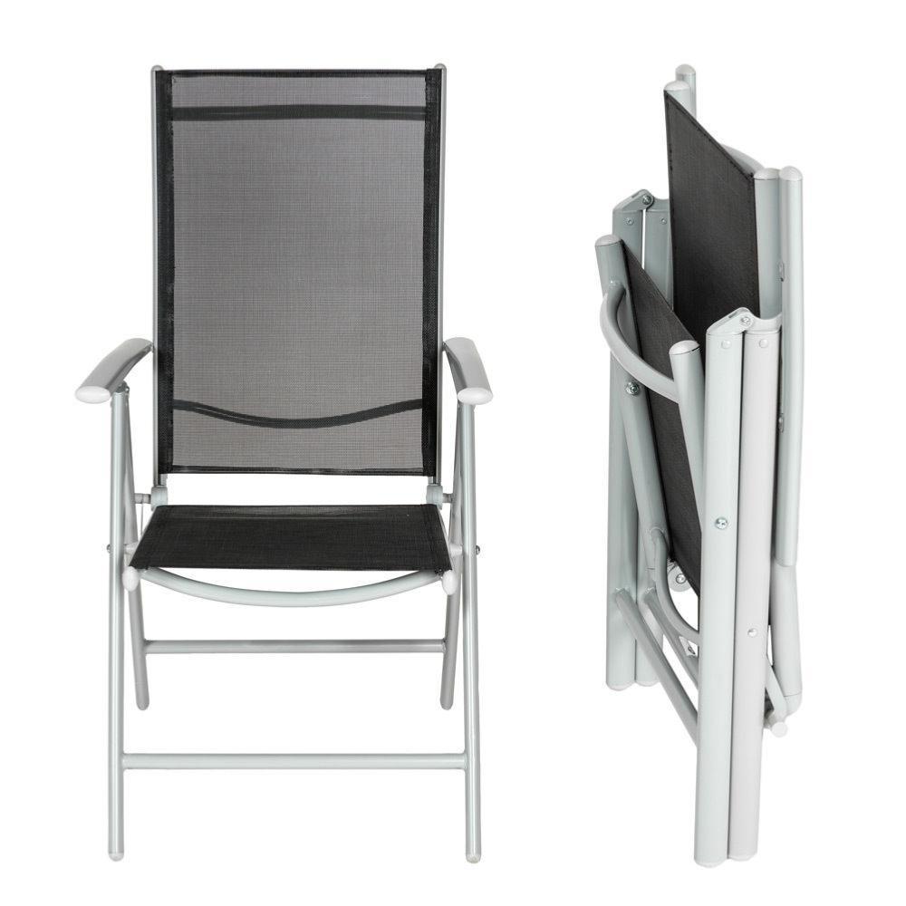chaise pliante aluminium gris noir pour salon de jardin