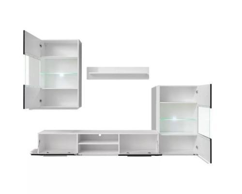 ensemble meubles tv noir blanc 240 cm eclairage led regina