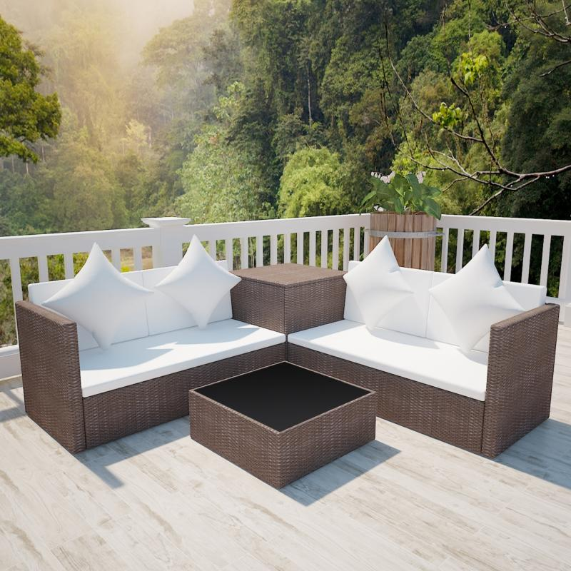 canape de jardin d angle en resine tressee marron