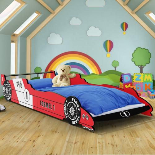 lit 90 x 200 cm en forme de voiture formule 1 rouge