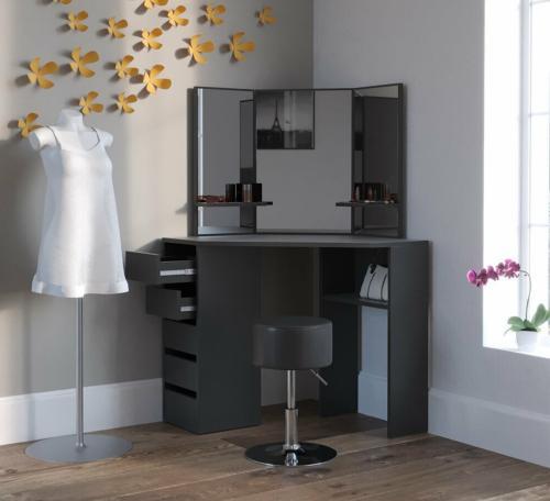 meuble coiffeuse d angle noir avec miroir et siege