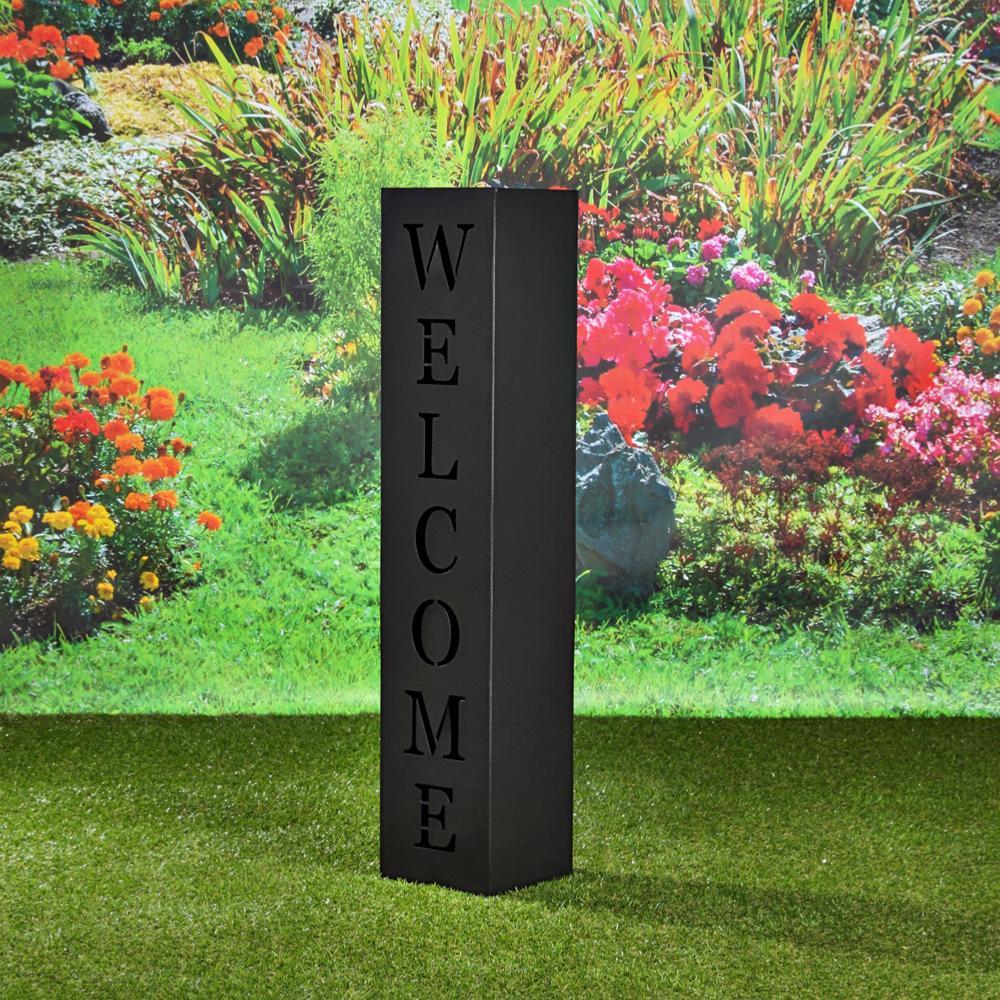colonne decoration jardin metal noir modele welcome