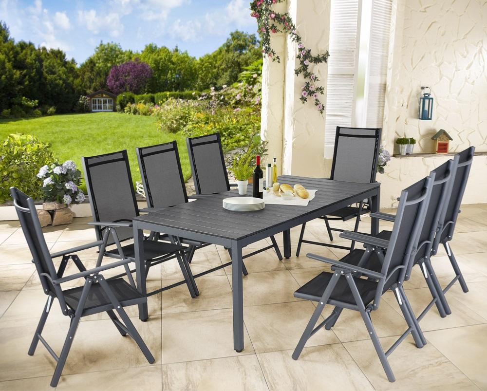 salon de jardin aluminium composite gris et noir 8 places