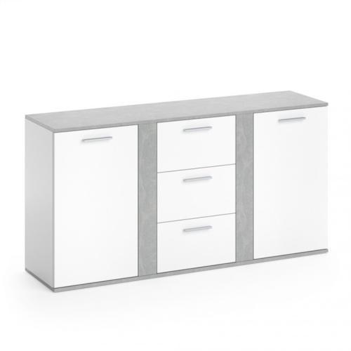 buffet bas gris beton blanc 155 cm modele milan