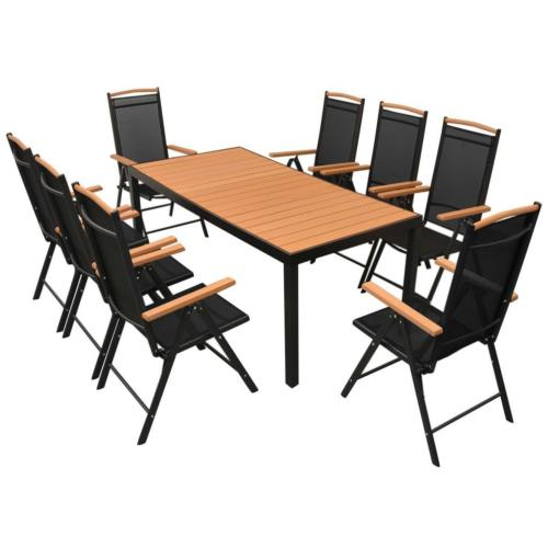 salon de jardin aluminium composite 8 fauteuils