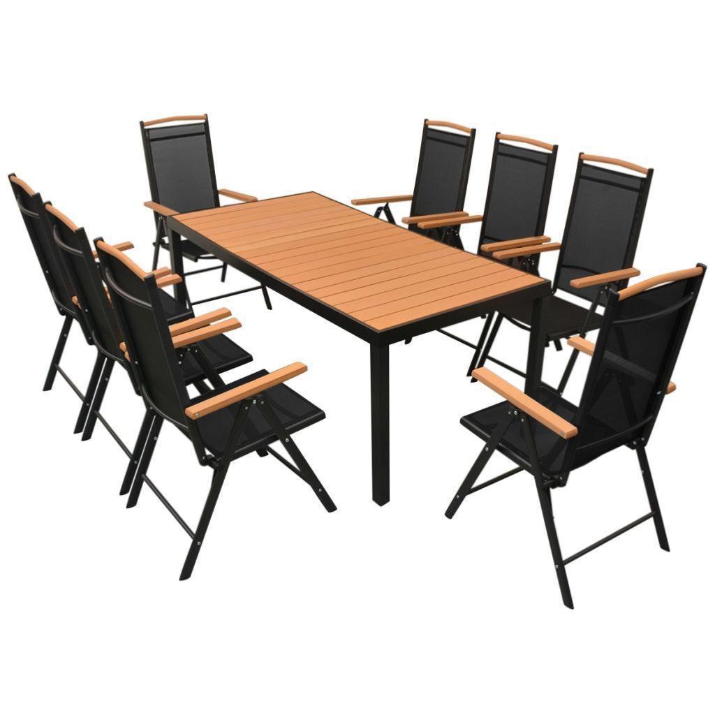 salon de jardin aluminium composite brun 8 fauteuils