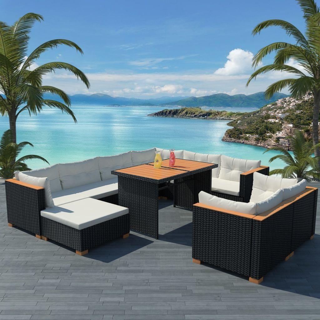 salon de jardin canape composite et resine tressee noir modele mahina