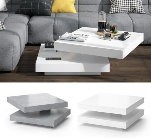 table basse pivotante 2 niveaux blanc ou gris modele mirage