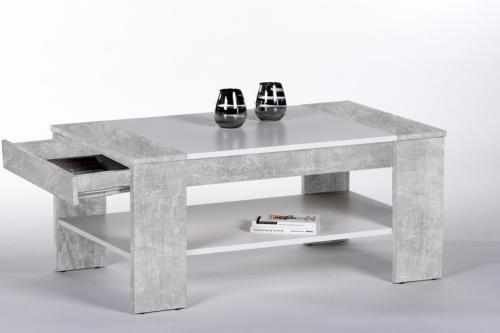 table basse en bois gris beton 100 cm avec tiroir modele berlin