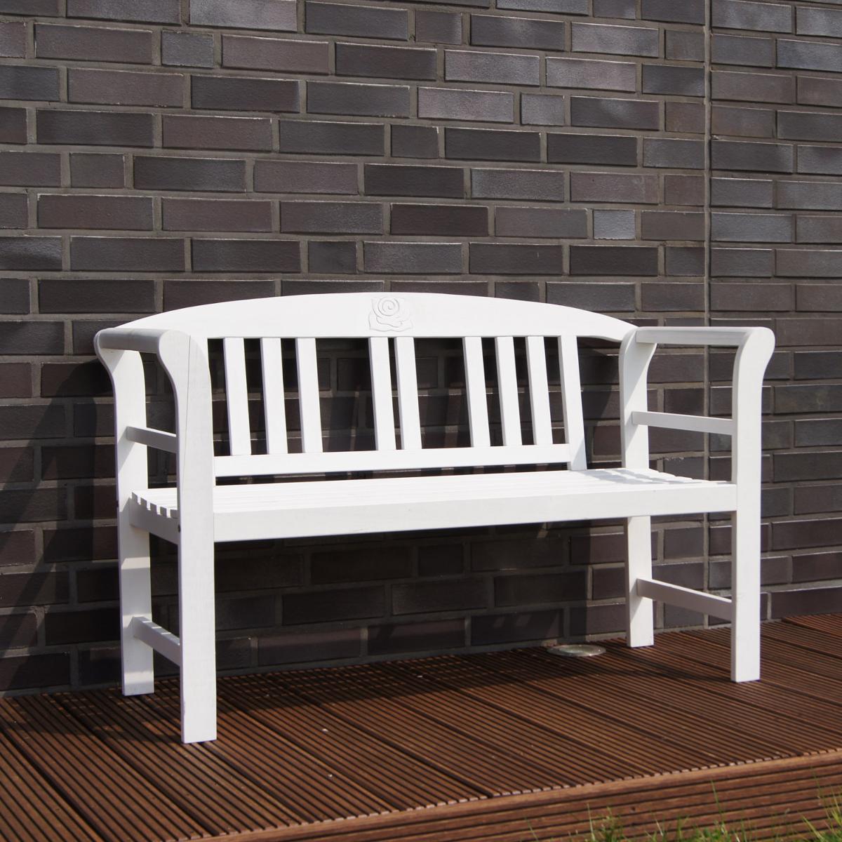 banc de jardin design bois exotique blanc 2 personnes