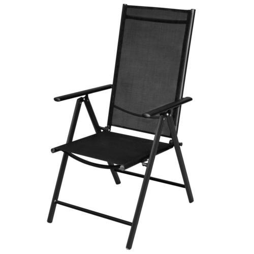 chaise pliante anthracite pour salon de jardin en aluminium