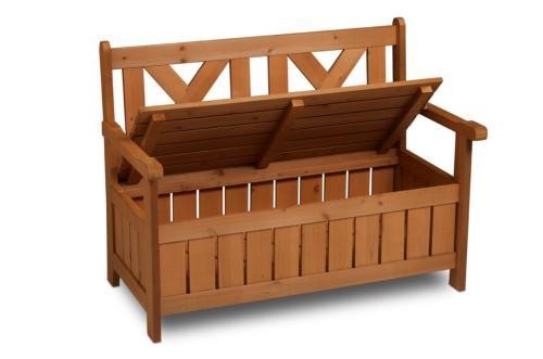 banc de jardin bois avec coffre de rangement integre