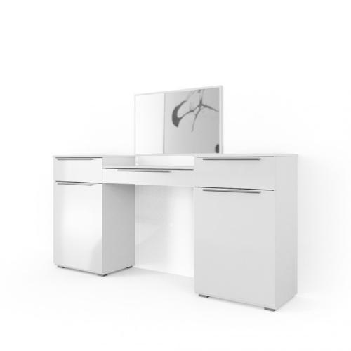 meuble coiffeuse 190 cm blanc laque avec miroir
