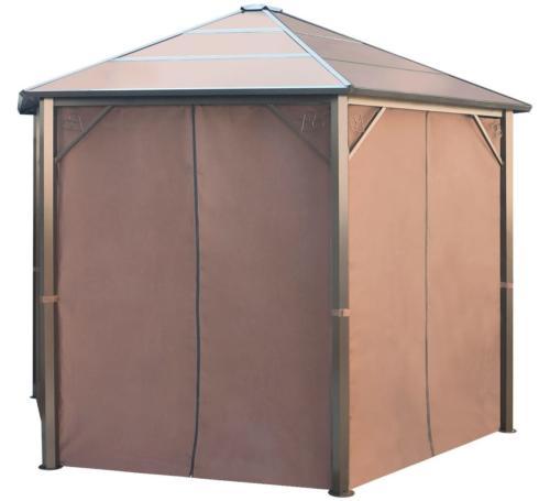 tonnelle de jardin hexagonale aluminium toit polycarbonate avec rideaux